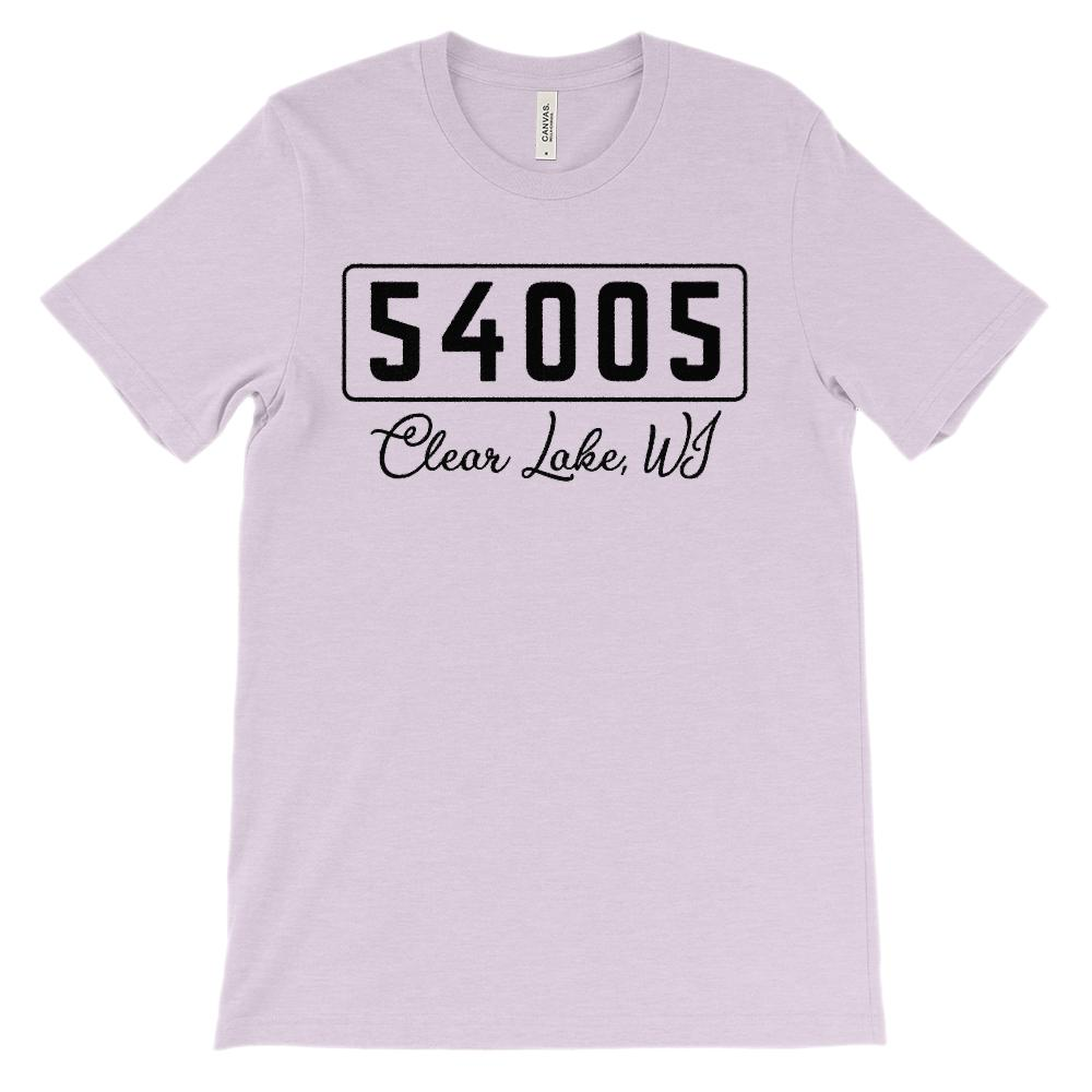 (Soft Unisex BC 3001) Custom Zipcode (54005, Clear Lake, WI) Graphic T-Shirt Tee BOXELS