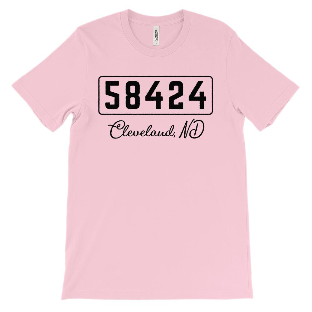(Soft Unisex BC 3001) Custom Zipcode (58424, Cleveland, ND) Graphic T-Shirt Tee BOXELS