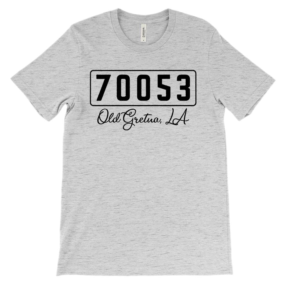 (Soft Unisex BC 3001) Custom Zipcode (70053, Old Gretna, LA) Graphic T-Shirt Tee BOXELS