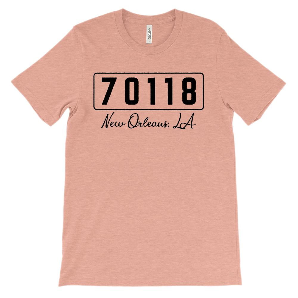 (Soft Unisex BC 3001) Custom Zipcode (70118, New Orleans, LA) Graphic T-Shirt Tee BOXELS