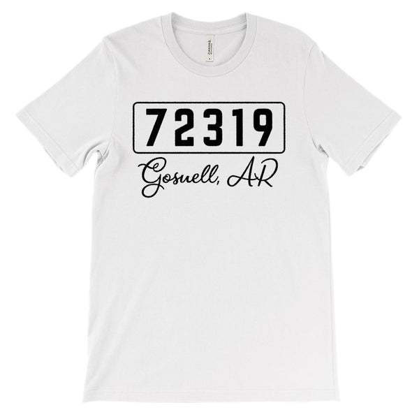 (Soft Unisex BC 3001) Custom Zipcode (72319 Gosnell, AR ) Graphic T-Shirt Tee BOXELS