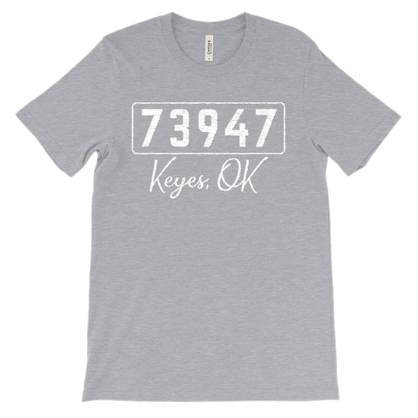 (Soft Unisex BC 3001) Custom Zipcode (73947, Keyes, OK) Graphic T-Shirt Tee BOXELS