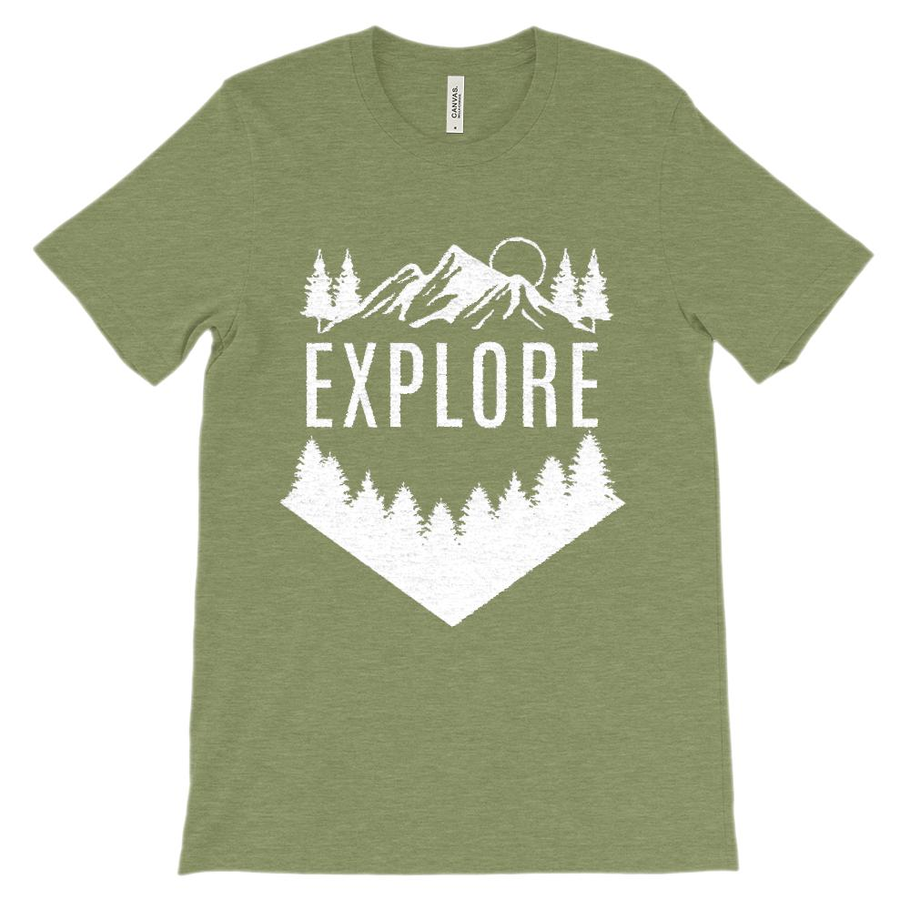 (Soft Unisex BC 3001 - Dark Colors) Get Outside Explore Graphic T-Shirt Tee BOXELS