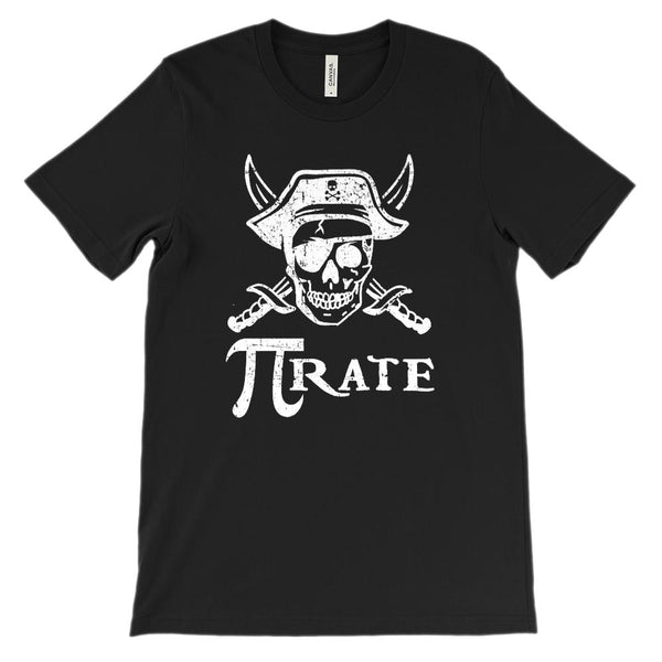 (Soft Unisex BC 3001 - Dark Colors) Pi Rate (pirate) Math Pirate Graphic T-Shirt Tee BOXELS