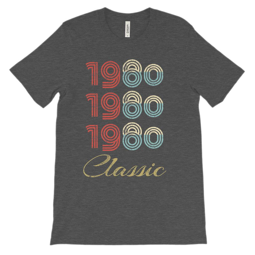 (Soft Unisex BC 3001 Darks) Made in the Year 1980 3 Yr Classic Graphic T-Shirt Tee BOXELS