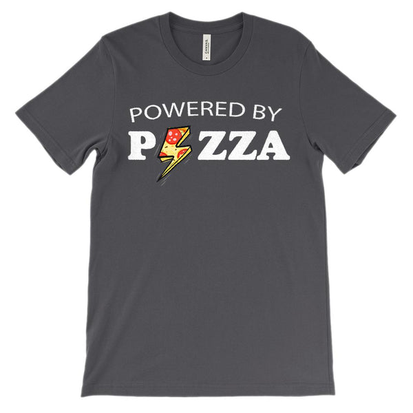 (Soft Unisex BC 3001 Darks) Powered By Pizza Graphic T-Shirt Tee BOXELS