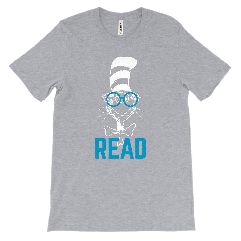 (Soft Unisex BC 3001 Darks) Read Cat Hat Glasses (Blue Font) Graphic T-Shirt Tee BOXELS