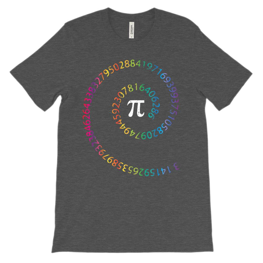 (Soft Unisex BC 3001 - Darks) Spiral Pi Rainbow Math Graphic T-Shirt Tee BOXELS