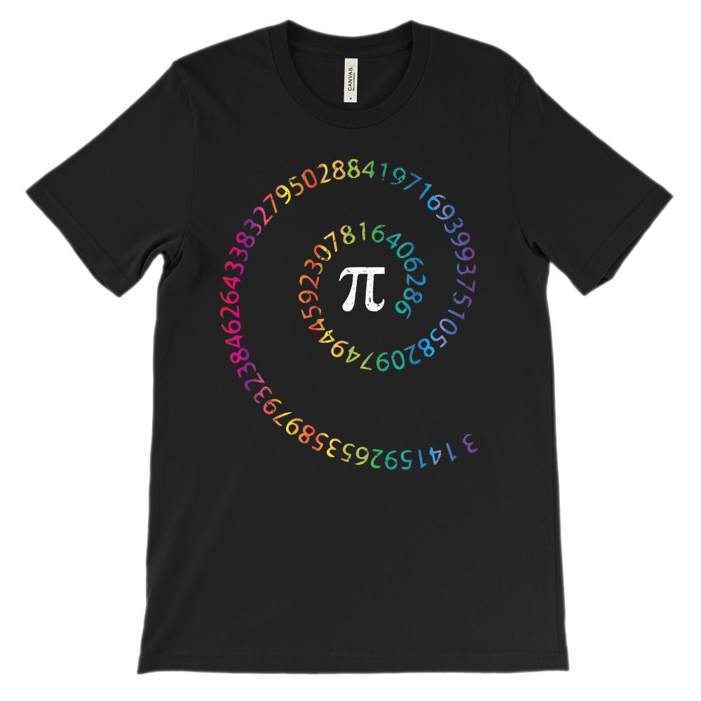(Soft Unisex BC 3001 - Darks) Spiral Pi Rainbow Math