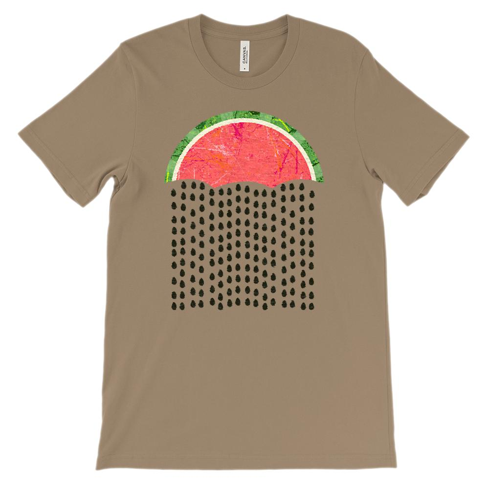(Soft Unisex BC 3001 - Darks) Watermelon Raindrops Graphic T-Shirt Tee BOXELS