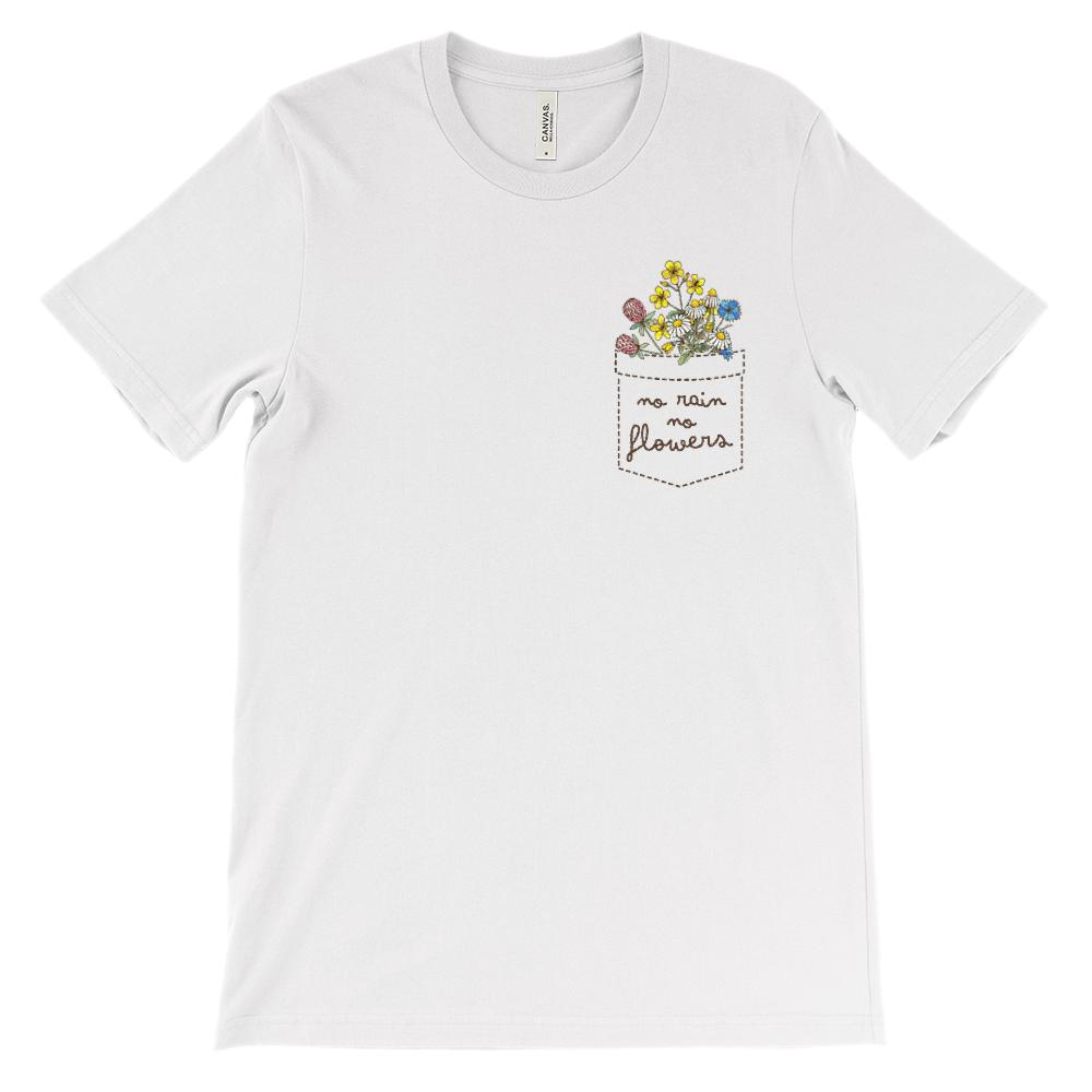 (Soft Unisex BC 3001) Fake Pocket no rain no flowers