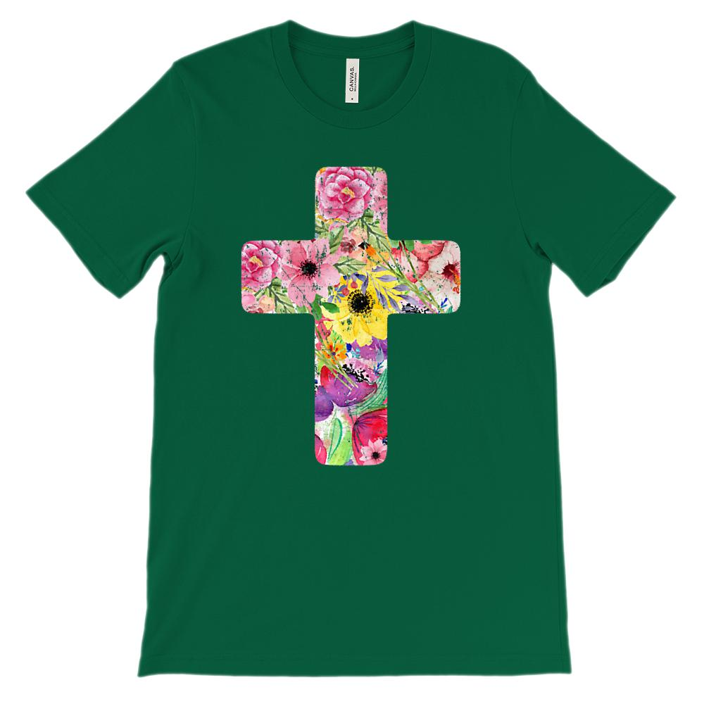 (Soft Unisex BC 3001) Floral Cross Graphic T-Shirt Tee BOXELS