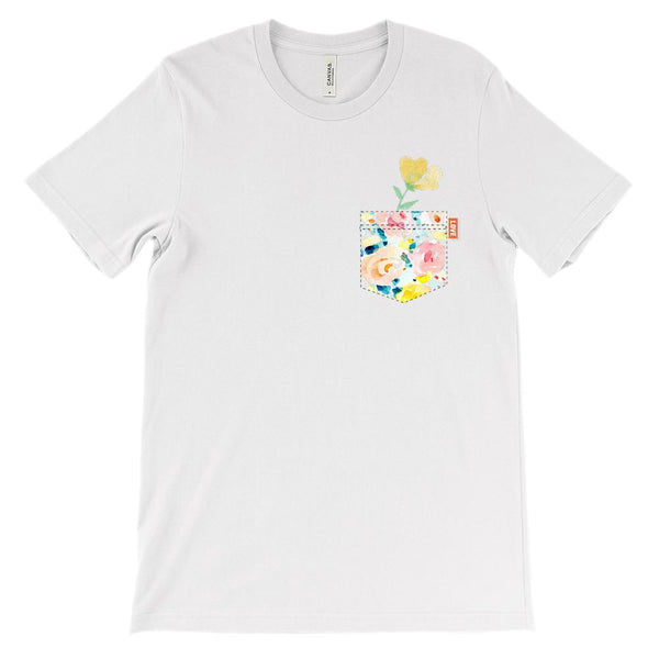 (Soft Unisex BC 3001) Floral Fake Pocket Graphic T-Shirt Tee BOXELS