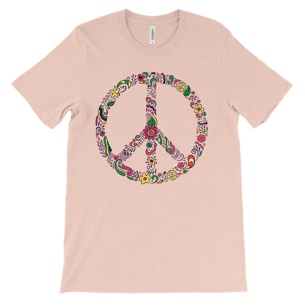(Soft Unisex BC 3001) Floral Peace Sign Graphic T-Shirt Tee BOXELS