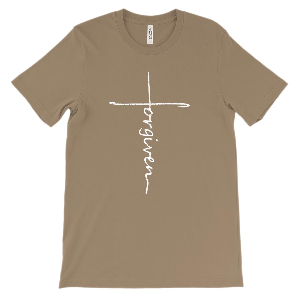 (Soft Unisex BC 3001) Forgiven Cross (white) Graphic T-Shirt Tee BOXELS