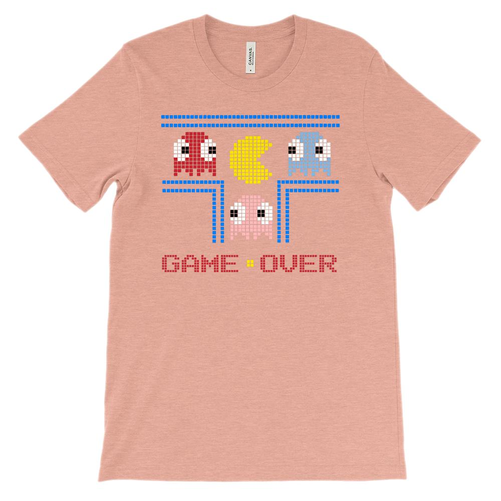 (Soft Unisex BC 3001) Game Over Pixel 80s Throwback Nostalgia Graphic T-Shirt Tee BOXELS