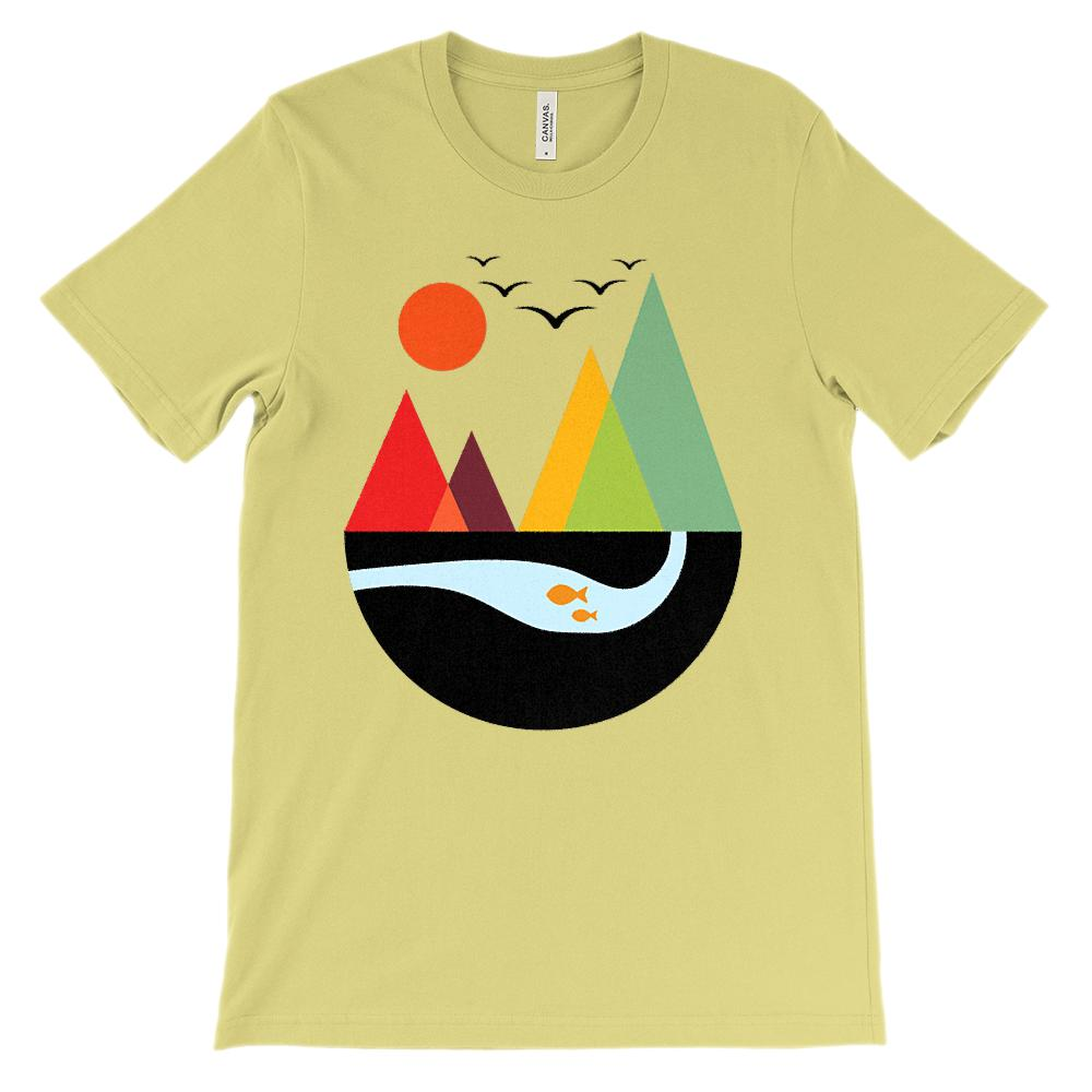 (Soft Unisex BC 3001) Get Outside Geometric Mountains Graphic T-Shirt Tee BOXELS