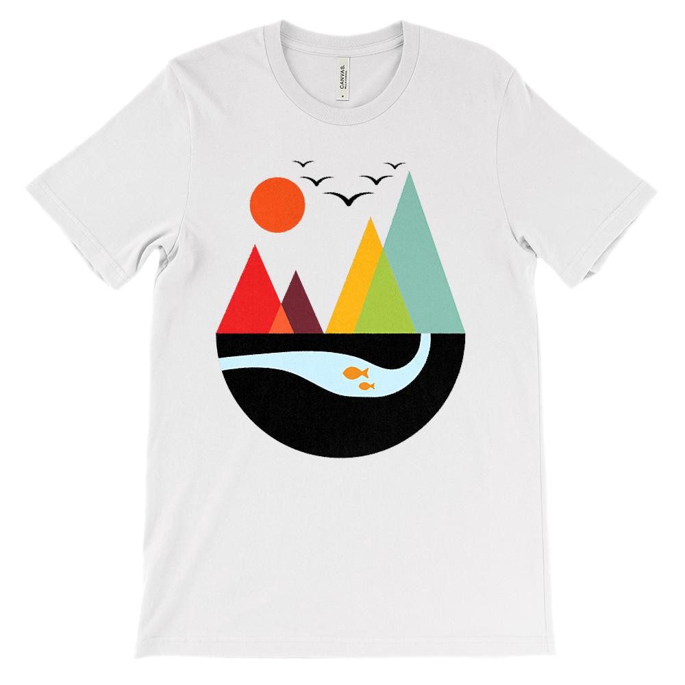 (Soft Unisex BC 3001) Get Outside Geometric Mountains