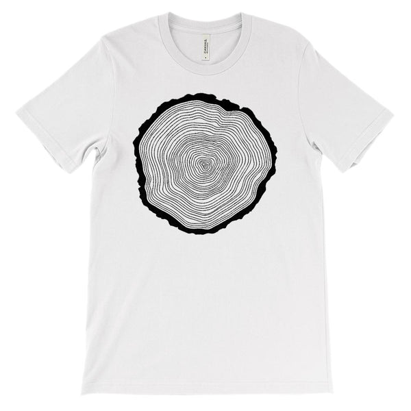 (Soft Unisex BC 3001) Get Outside Wood Tree Ring Graphic T-Shirt Tee BOXELS