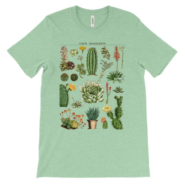 (Soft Unisex BC 3001 - Greens) Cacti Succulents Graphic T-Shirt Tee BOXELS