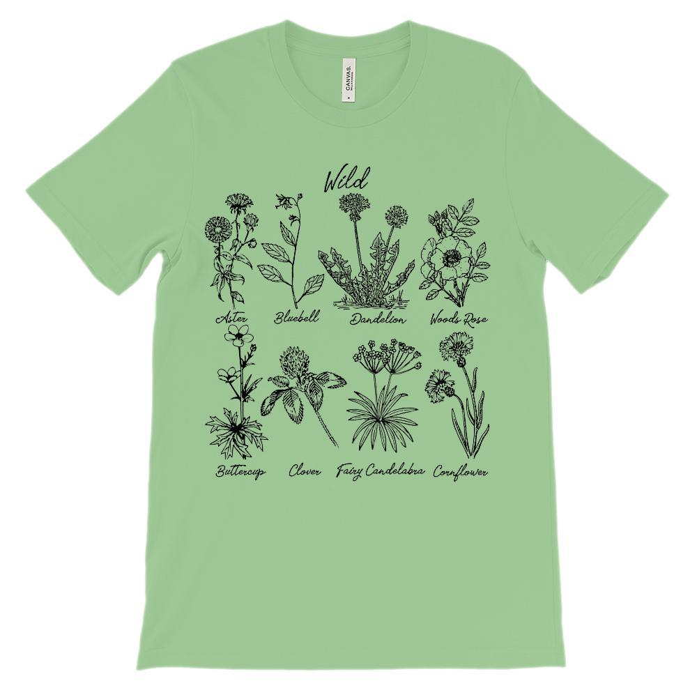 (Soft Unisex BC 3001 - Greens) Wild Botanical Flowers (Weeds) Black Design Graphic T-Shirt Tee BOXELS