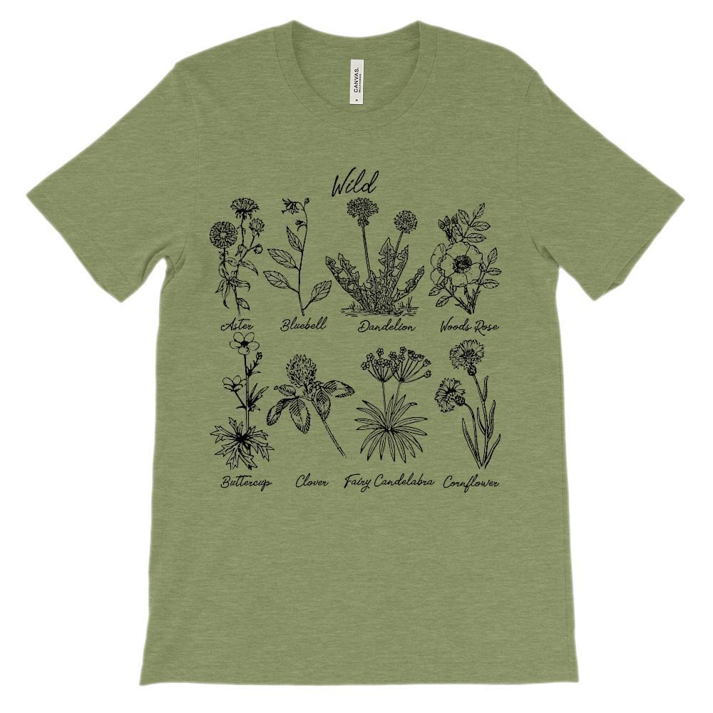 (Soft Unisex BC 3001 - Greens) Wild Botanical Flowers (Weeds) Black Design