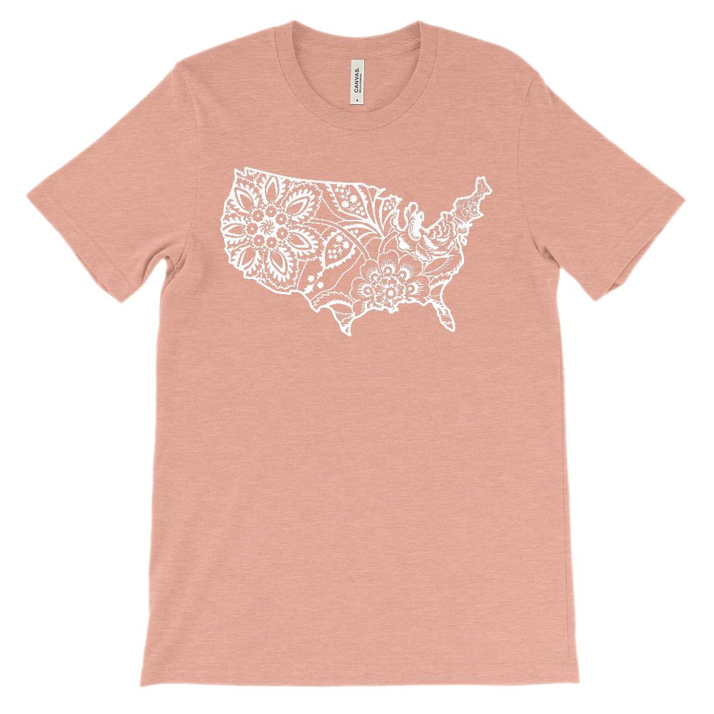 (Soft Unisex BC 3001) Hawaiin Floral Usa Map (white) Graphic T-Shirt Tee BOXELS