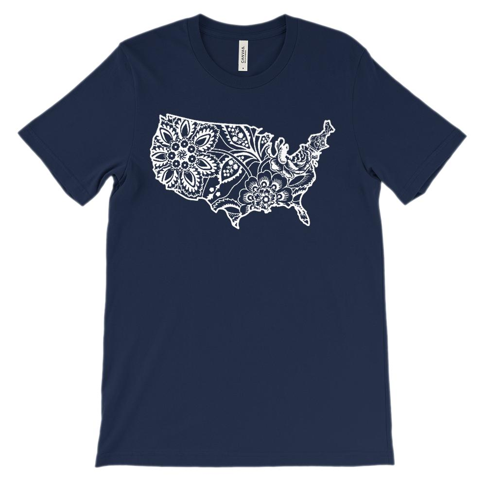(Soft Unisex BC 3001) Hawaiin Floral Usa Map (white)