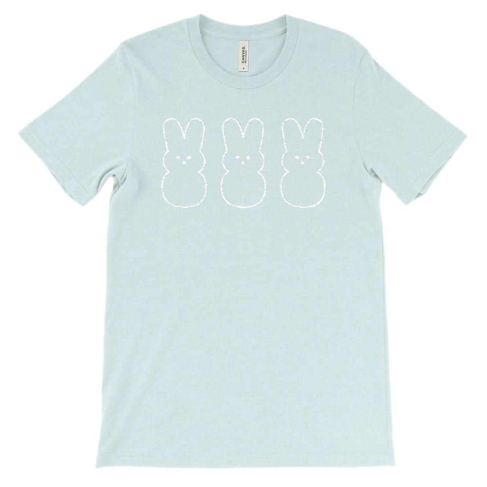 (Soft Unisex BC 3001 - Heathered) Three Marshmallow Bunnies (white) Graphic T-Shirt Tee BOXELS