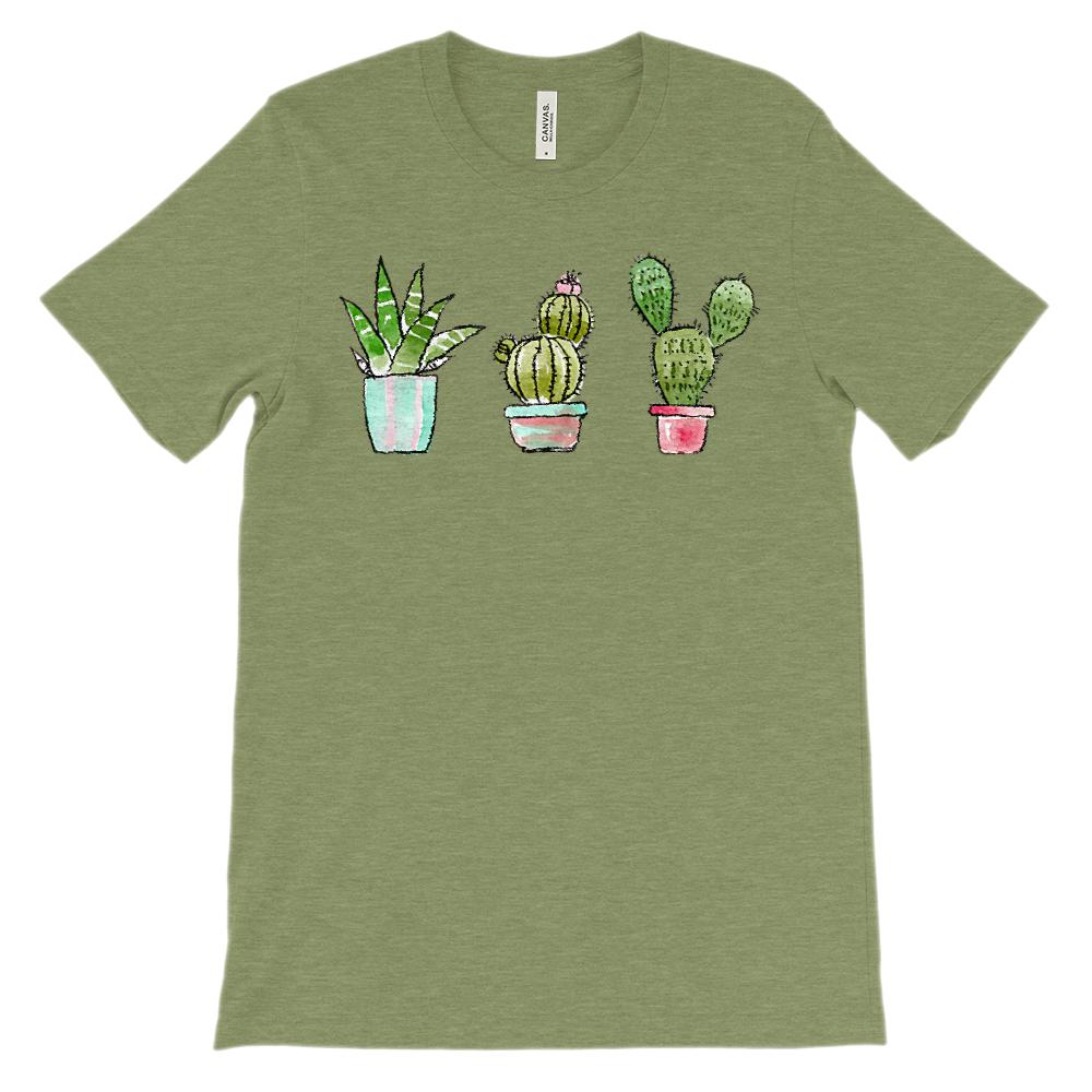 (Soft Unisex BC 3001 - Heathers) 3 Watercolor Cacti Graphic T-Shirt Tee BOXELS