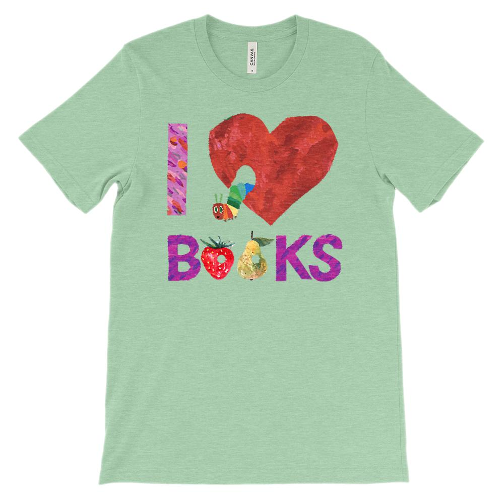 (Soft Unisex BC 3001 - Heathers) I Love Books Worm Caterpillar Graphic T-Shirt Tee BOXELS