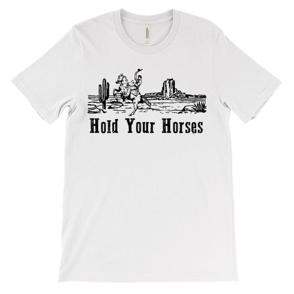 (Soft Unisex BC 3001) Hold Your Horses Cowboy Desert Scene Graphic T-Shirt Tee BOXELS