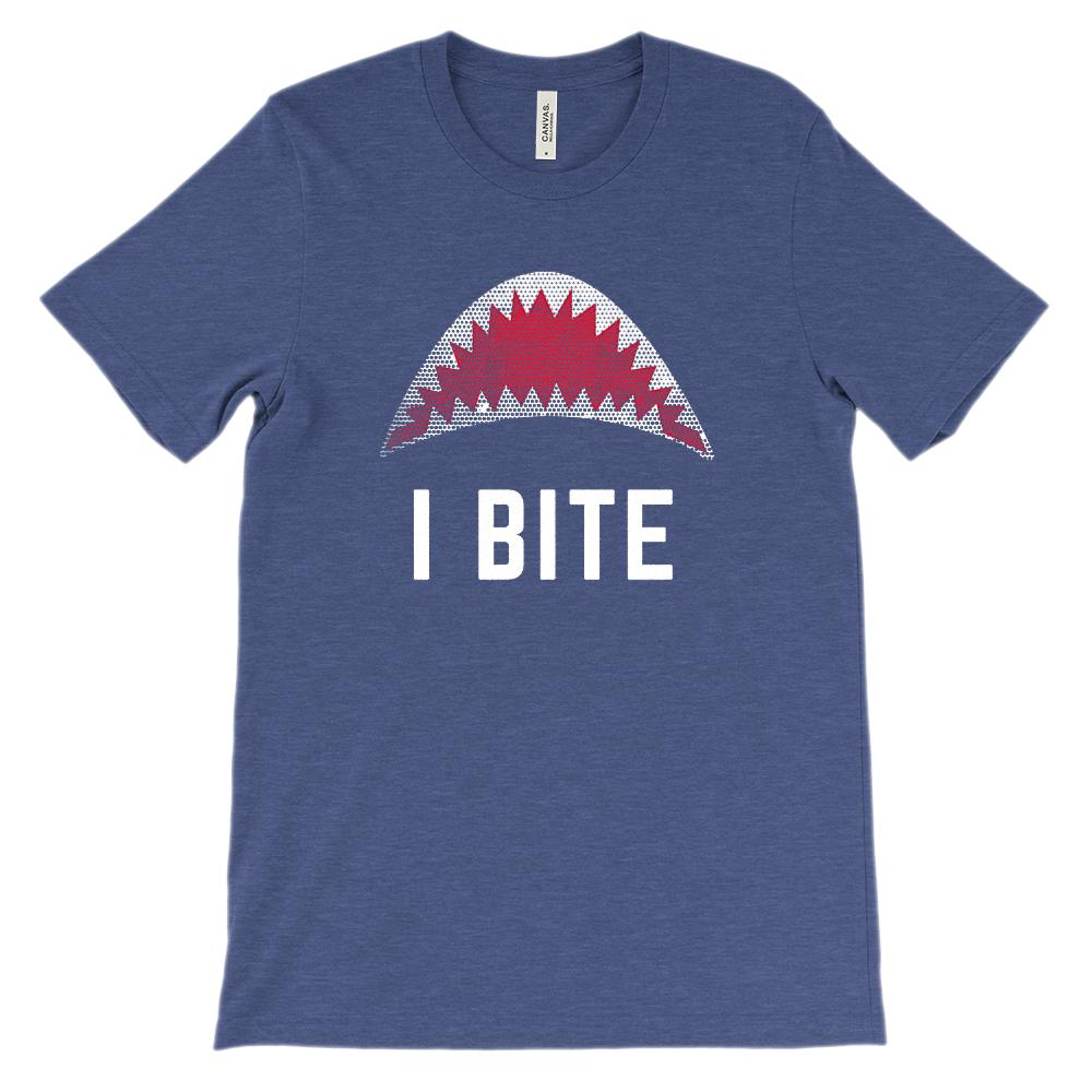 (Soft Unisex BC 3001) I Bite (shark mouth) Graphic T-Shirt Tee BOXELS