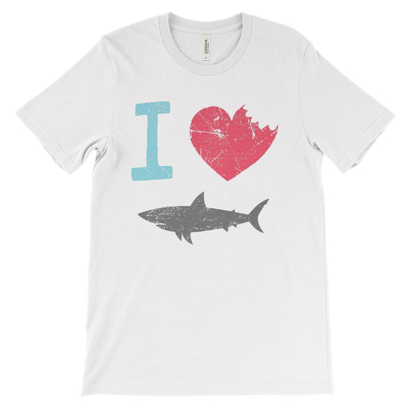 (Soft Unisex BC 3001) I Love Sharks Graphic T-Shirt Tee BOXELS