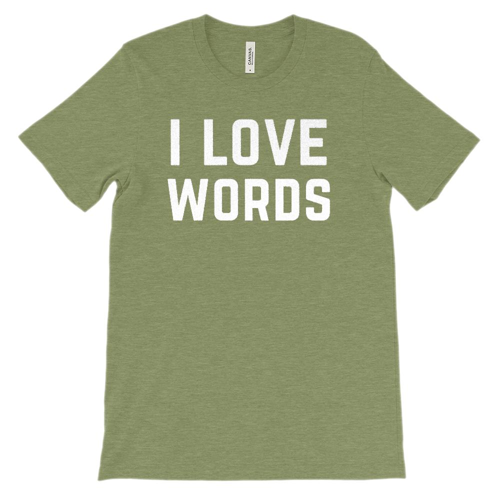 (Soft Unisex BC 3001) I Love Words (White) Graphic T-Shirt Tee BOXELS