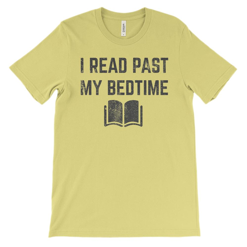 (Soft Unisex BC 3001) I Read Past My Bedtime (Dark Gray) Graphic T-Shirt Tee BOXELS
