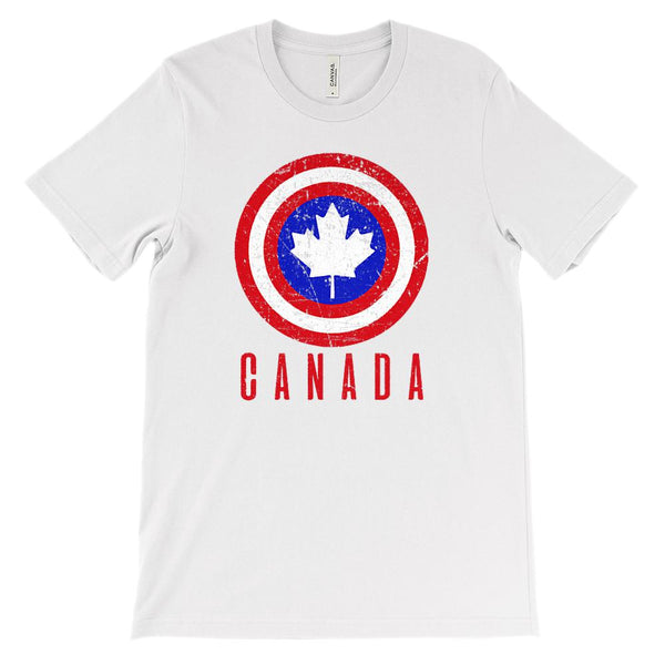 (Soft Unisex BC 3001) Iconic World Destinations (Canada Shield) Graphic T-Shirt Tee BOXELS