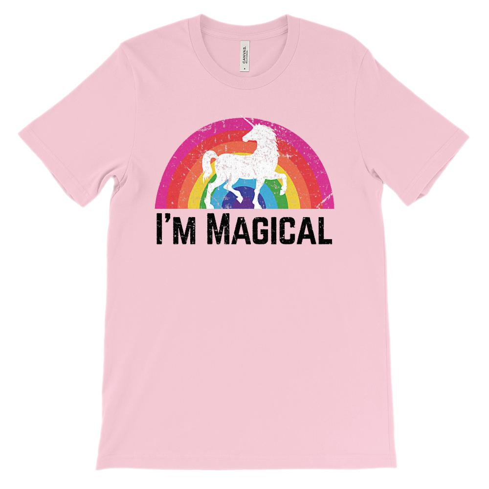 (Soft Unisex BC 3001) I'm Magical Unicorn Grunge Rainbow Graphic T-Shirt Tee BOXELS