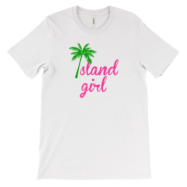 (Soft Unisex BC 3001) Island Girl Pink (darker tree) Graphic T-Shirt Tee BOXELS