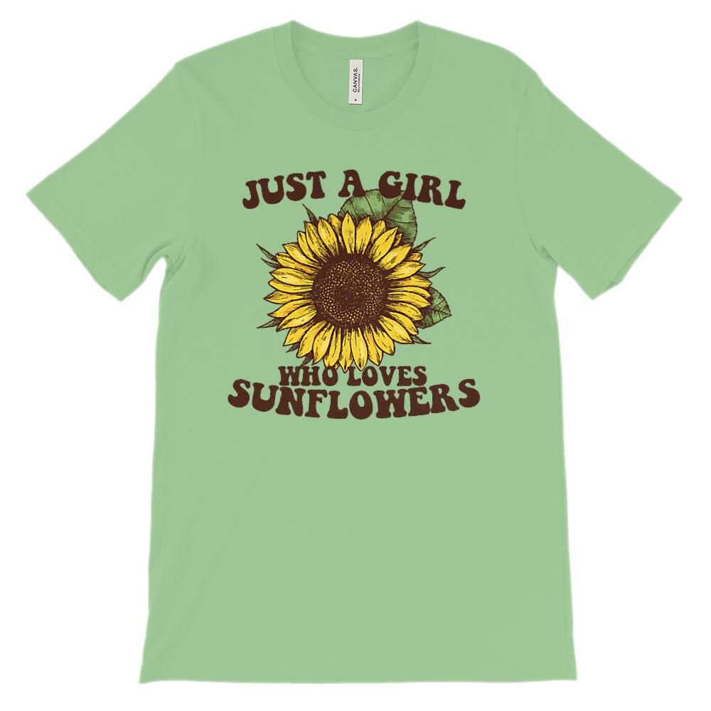 (Soft Unisex BC 3001) Just a Girl Who Loves Sunflowers Graphic T-Shirt Tee BOXELS