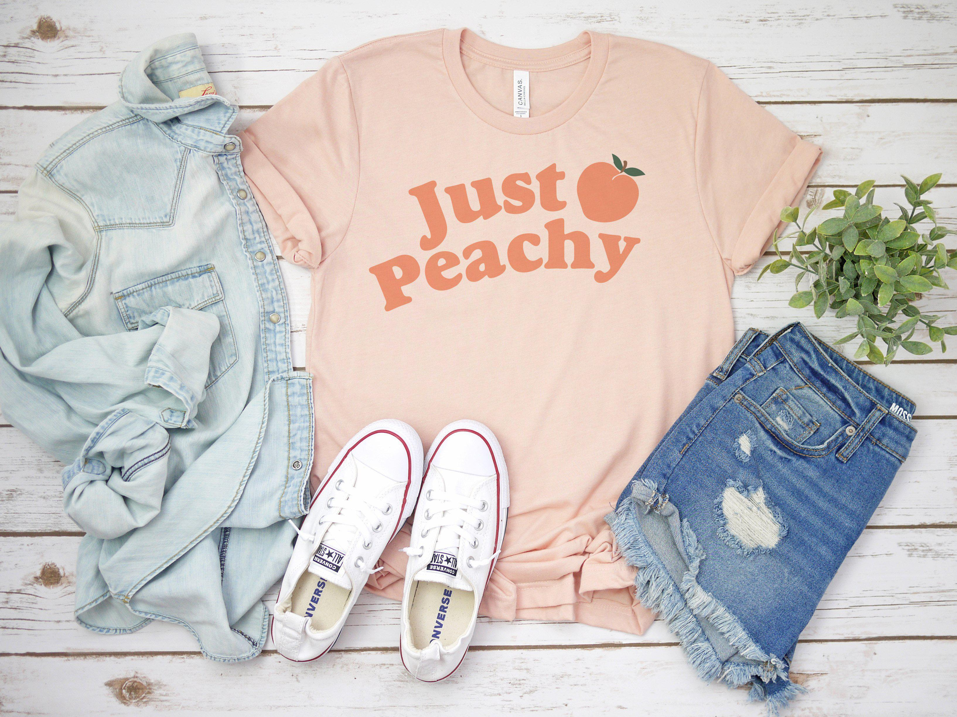 (Soft Unisex BC 3001) Just Peachy Graphic T-Shirt Tee BOXELS