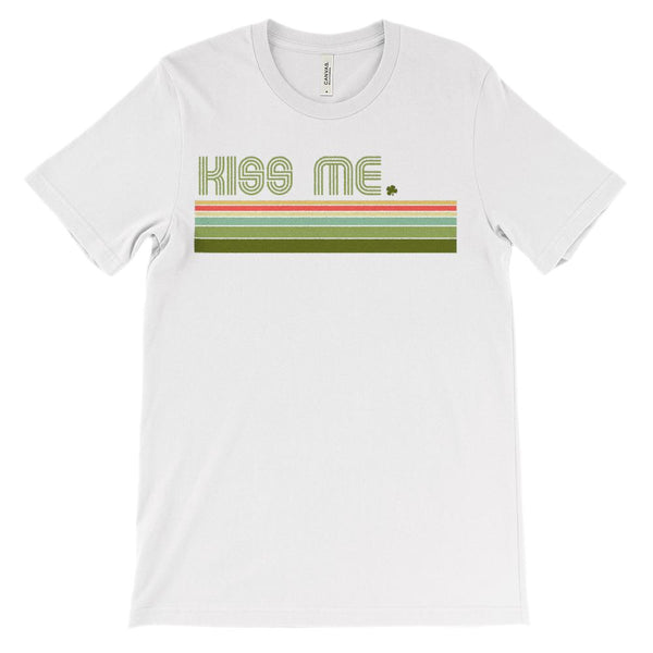 (Soft Unisex BC 3001) Kiss Me Irish Stripes (Greens Design) Graphic T-Shirt Tee BOXELS