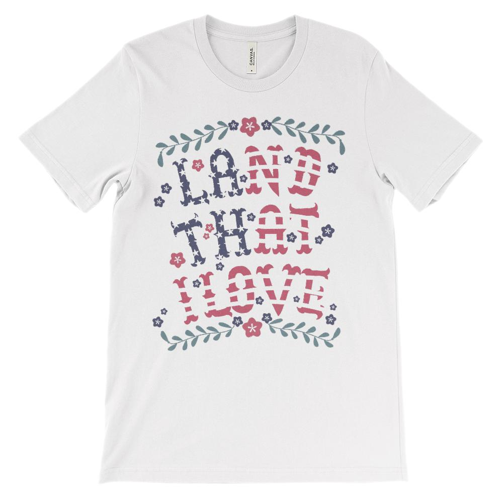 (Soft Unisex BC 3001) Land That I Love Vintage Red White Blue Patriotic Graphic T-Shirt Tee BOXELS