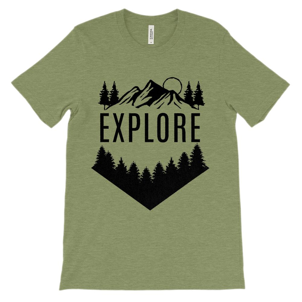 (Soft Unisex BC 3001 - Light Colors) Get Outside Explore Graphic T-Shirt Tee BOXELS