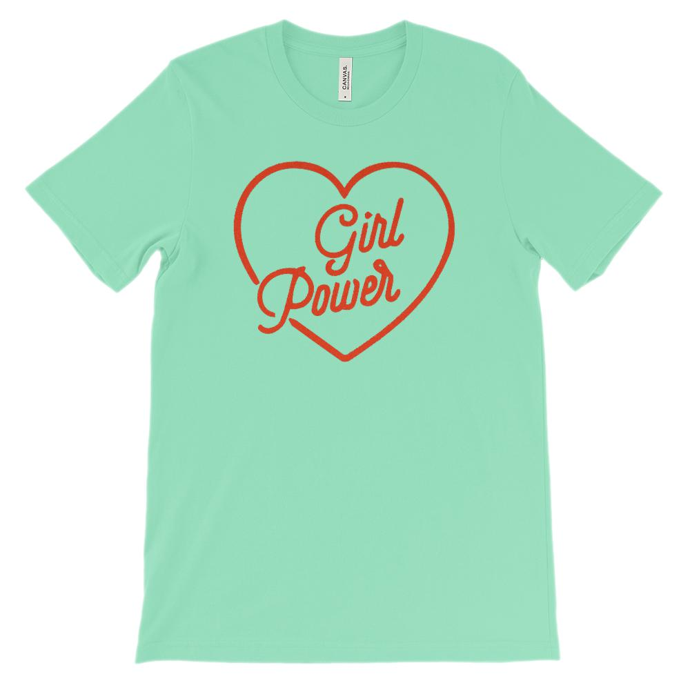 (Soft Unisex BC 3001 - Light Colors) Girl Power Heart Graphic T-Shirt Tee BOXELS