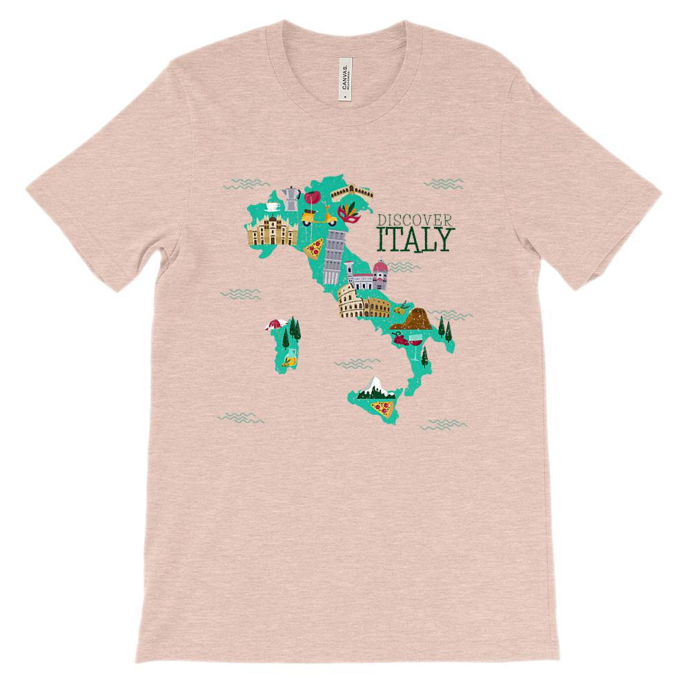 (Soft Unisex BC 3001 - Light Colors) Italy Discover Map Graphic T-Shirt Tee BOXELS