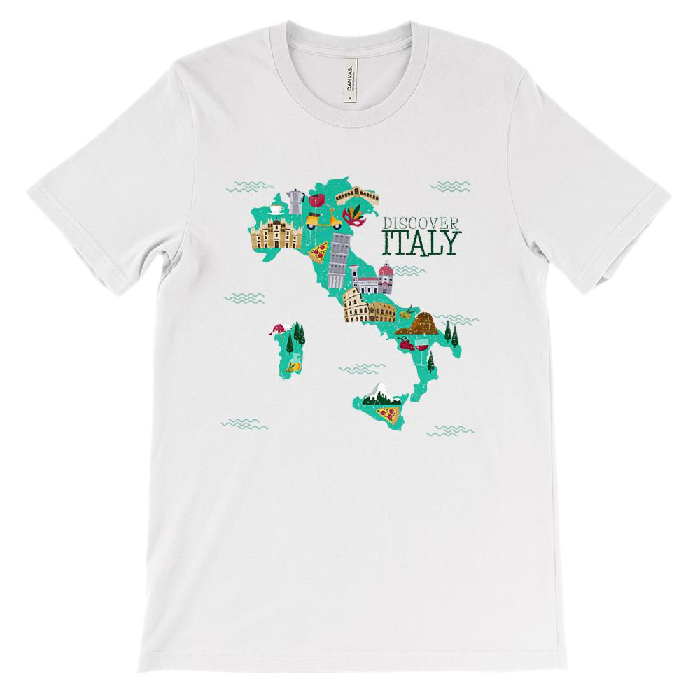 (Soft Unisex BC 3001 - Light Colors) Italy Discover Map