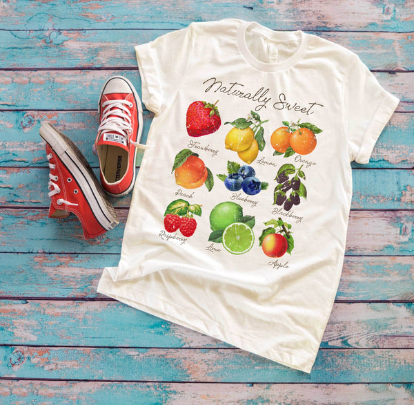 (Soft Unisex BC 3001 - Light Colors) Naturally Sweet Fruits (Grunged) Graphic T-Shirt Tee BOXELS
