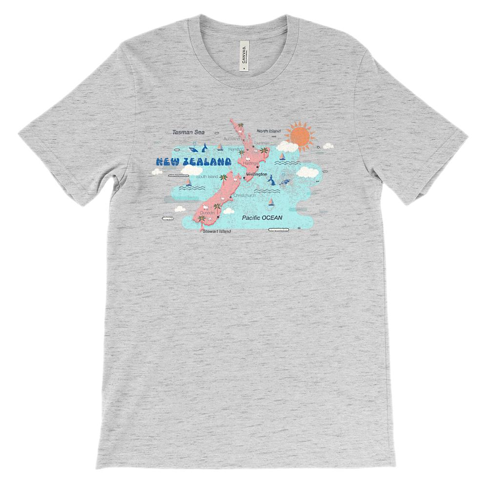 (Soft Unisex BC 3001 - Light Colors) New Zealand Map Graphic T-Shirt Tee BOXELS
