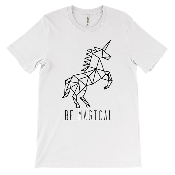 (Soft Unisex BC 3001 - Light Colors) Unicorn Be Magical (black) Graphic T-Shirt Tee BOXELS